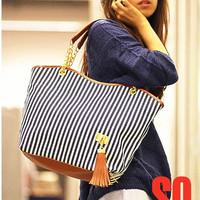 Holiday sale bags Handbags fashion women Stripe Street Snap Candid Tote Canvas Shoulder Bag drop shipping Free Shipping W1262