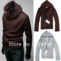 Slim Polyester Solid Color Mens Boys Jacket Slant Zip Detail Hoodie Hooded Coat  JX0072