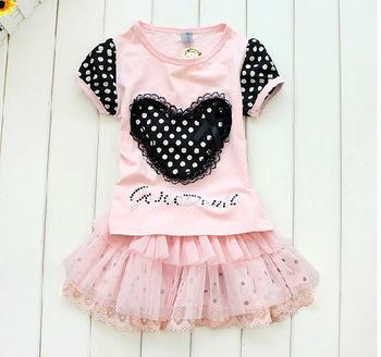 girls dot big love dresses,girls tutu dress,princess dresses suits,5pcs/lot mix full size free shipping