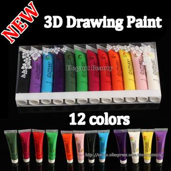wholesale new Acrylic UV Gel Design 3D Paint Tube Nail Art Pen 12 Colors Nail Polish False tips Drawing 12pcs/lot Free Shipping