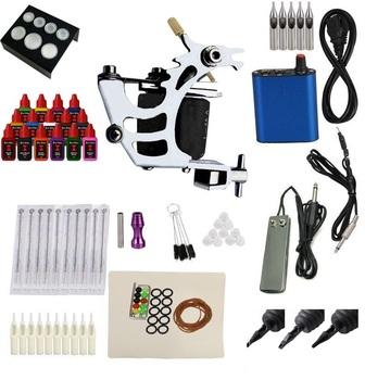 Complete Tattoo Kit Machine Gun 15 Color Inks 50 Needles Power Supply Set