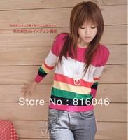 New!4 colors stripe round collar long sleeve knit unlined upper garment women lady sweaters fashion dress,autumn&winter