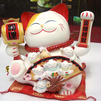 Chinese lucky cat, Janpanese maneki neko, business gift, office display, 53508