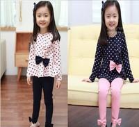 2013 Spring DOT & BOW Cotton children girls clothing sets suits kids top & pants 5sets/lot  620083J