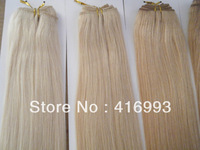 "18"" 20"" 22"" Inch 60# Platinum Blonde Color Hair Weft Weaving Hair Human Hair Extensions Indian Remy 300g/lot DHL Free Shipping"