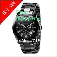 Wristwatches-Free shipping  AR1400 Black Ceramic chronograph Quartz Movement  men's watch