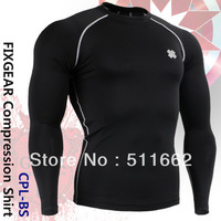 2012 polyester wholesale/retail shirts FIXGEAR Compression skin tight long sleeve tops training base layer CPL-BS
