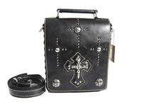 Men's Fashion cross multi-element rivet Black genuine leather punk shoulder bag messenger bag