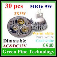 FedEX Free shipping 30 pcs Dimmable Cree MR16 9W 3X3W AC&DC 12V High power LED Spotlight Downlight bulb Lamp light led Lighting