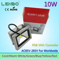 10pcs/Lot 110V 220V 240V LED Flood Light 10W Warm White Outdoor Lights Grey case High Power IP65 Green Blue Yellow Red LW2