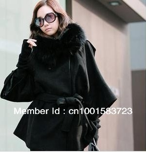 Women's lady's double breasted coat collars grow a fur slim coat (Distribution gloves) Fashion New(China (Mainland))