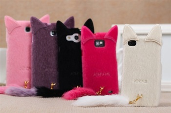Cute plush Cat Case For Samsung Galaxy  S3 SIII I9300 Note 2 Note ii N7100 Note N7000 I9220 Lovely Cover