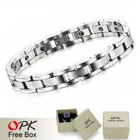 OPK JEWELRY top quality energy magnetic stone stainless steel bracelet men's jewelry handmade healthy bracelets 8012
