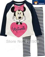 New arrivals 6 sets/lot baby cartoon minnie mouse pajamas kids 100% cotton long sleeves pyjamas baby clothing sleepwear