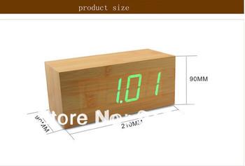 New Creative Blue Light Touch Sensing Imitation Wood LED Alarm Clock Digital Desk Clock Table Clock W/Date Teperature