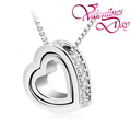 Promotion Valentine Gift Double Heart Crystal Necklace Jewelry 10pcs/lot Free Shipping (5 Colours)