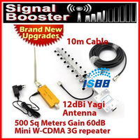 500 Square Meters W-CDMA 2100MHz 3G Signal Booster Repeater and Mobile Phone Signal Booster 12dbi yagi antenna 10 meters cable