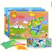 New 8 Styles Fable Story Kids EVA Handmake Handicraft DIY children Sticker 3D Puzzle art EVA Puzzles Painting Toys Free shipoing