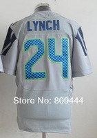 Free Shipping #24 Marshawn Lynch Men's Elite Football Jersey,Stitched Logos,Size M--3XL,Accept Mix Order