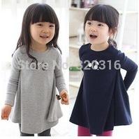 Free shipping, Cotton,Autumn sweet cherry Dress For girls  GIrls Grey Dark Blue Girls large Pendulum Dress qz0451