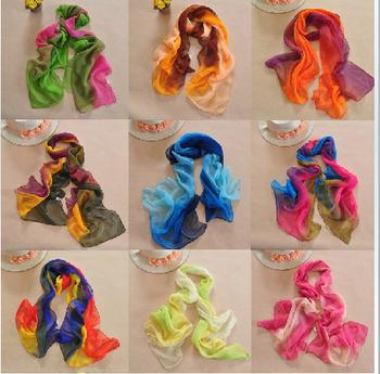 Min order $15! 2014 Hot Style New Women's Fashion Gradual Patchwork colors chiffon georgette silk scarf/ shawl!