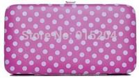 1piece Women Dot envelope clutch bag long Wallets ladies Purse Checkbook Handbag soft PU leather card holder B0009