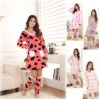 Women's Long Sleeve Sleepwear Warm Coral Fleece Leisure Pajamas Sets Girl Nightgown Heart/Stripe/Leopard/Cow lines