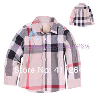 5pcs/lot(2-6Y) Wholesale long sleeve brand check shirt  Children Kids shirts plaid boys shirts children clothingFree shipping
