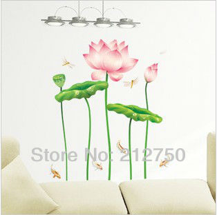 Wonderful Lotus flower wall sticker home decor water Lily floral wall decals removable wall stickers