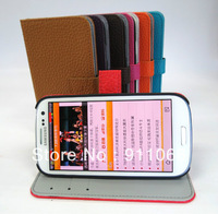 Wholesale for high quality Pu leather case with card holder for Samsung 9300 / S3  free shipping