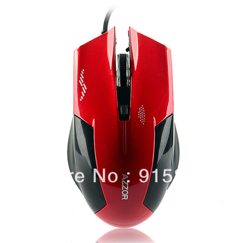 free shipping balck and red wired USB optical mouse with LED for games computer