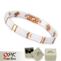 OPK FINE JEWELRY Ceramic Bracelets Men's Figaro Chain Classics White Ceram Jewellery rose yellow gold plated free shipping446