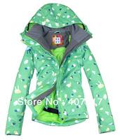 Free shipping 2013 new arrival womens peach hearts waterproof snowboard jacket ladies skiing jacket snow parka skiwear green