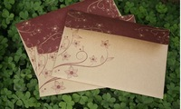 Retro Style High quality Kraft Envelops Kraft Paper Gift Envelope Flowers design 100pcs/lot Free shipping