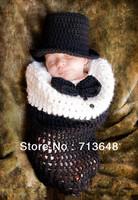 New design little gentleman handmade crochet photography props baby sleeping bag free shipping