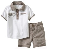 retail, free shipping high quality 100% cotton new baby boys 2pcs set T shirt + shorts fashion summer boys suits