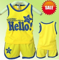 Free shipping 3pcs/lot baby children kids smiling face summer suit set hello tshirt+short pant