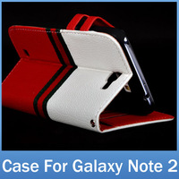 Luxury Multi-Color PU Leather Stand Wallet Case For Samsung Galaxy Note 2 ii N7100 Note2 Flip Cover Holster Free Shipping