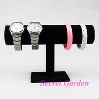 Wholesale 2 High Quality Black Velvet Bangle Bracelet Watch Display Stand Holder T-Bar