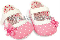 FREE SHIPPING----first walkers shoes baby pink and red shoes girl's sunflowers princess shoes with circle dot design 1pcs 2436