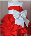 2013 NEW children dress girls High-grade Princess dresses chiffon Big bowknot dressefor summer red pink 4pcs/lot GD21224-01R^^LM