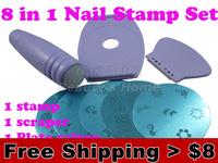 : 8 in 1 Nail Art Stamping set Nail printer 5pcs Round Image Plate +1 stamp + 1 scraper +1  pedestal Free shipping#0261