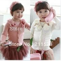 Sale 2013 New arrival Flower sweaters cardigan girls baby kids long sleeve tops coats princess shirt 5pcs  600124J