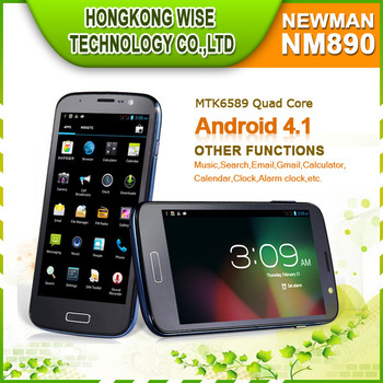 "2013  Free shipping 5"" Newman NM890 quad core andriod phone MTK6589 1.2GHz 4G ROM IPS HD 1280*720 screen  /John"