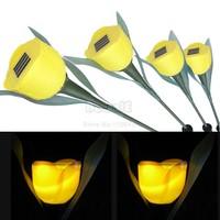 4Pcs/Lot Yellow Solar Lamp For Outdoor Garden LED Tulip Solar Landscape Flower Light Lamp Free Shipping Dropshipping 6880