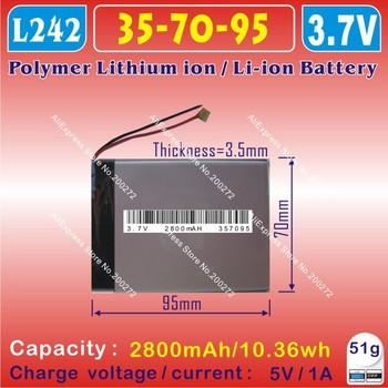 [L050] 3.7V,2800mAH,[357095] PLIB (polymer lithium ion battery) Li-ion battery  for tablet pc,mp4,cell phone,speaker,GPS,Q8,Q88
