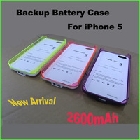 DHL FedEx EMS free shipping 2013 New arrival 2600mAh Rechargeable External Backup Battery Charger PC ABS Case for iphone 5 5G