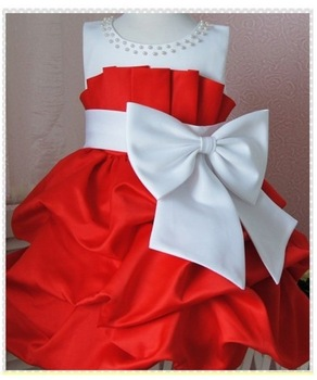 NEW,Retail 2013 children dress girls High-grade Princess dress chiffon Big bowknot dresse for summer free shipping red pink