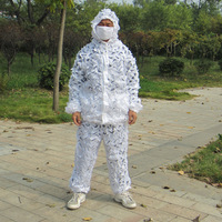 Outdoor Military White Jungle Camouflage Clothes for Men or Women to Wear in Snow Bird Watching or Camping Hunting in Winter