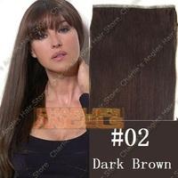 20 inch/50cm Long 36inch/91cm Width PU Skin Weft  Remy Human Hair Extension #02 Dark Brown Color, 55gram/set